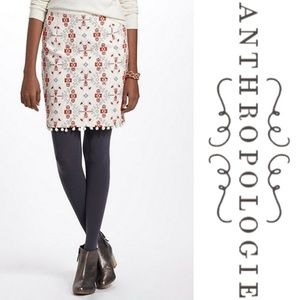 Anthropologie Maeve Blomma Cross Stitch Skirt